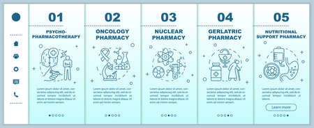Pharmacy branches onboarding mobile web pages vector template. Nuclear drug. Responsive smartphone website interface idea with linear illustrations. Webpage walkthrough step screens. Color concept