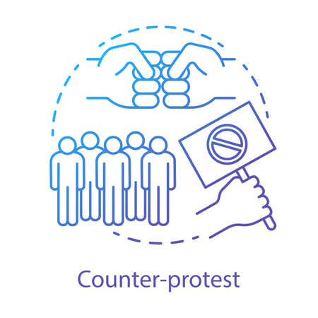 Counter protest concept icon. Public demonstration, disagreement manifestation idea thin line illustration. Hand holding placard, fists and crowd vector isolated outline drawing. Political rally