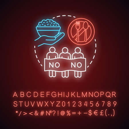 Hunger strike neon light concept icon. Voluntary food refuse, nonviolent protest idea. Glowing sign with alphabet, numbers and symbols. Protesters, rice bowl and tableware vector isolated illustration
