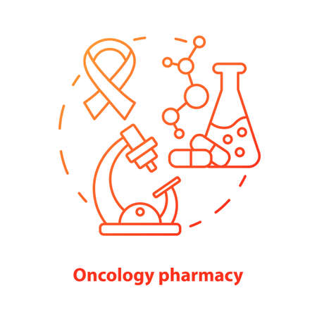 Pharmacy concept icon. Oncology medication research idea thin line illustration. Discovering drugs for cancer. Pharmacology and biochemistry. Vector isolated outline drawing