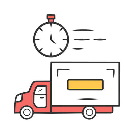 Same day delivery color icon. Fast shipping service and postal system. Express delivery truck. Quick parcel transportation. Shipment, courier service. Isolated vector illustration