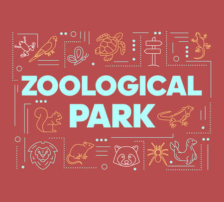 Zoological park word concepts banner. Wild animals species. Mammals and reptiles diversity. Presentation, website. Isolated lettering typography idea with linear icons. Vector outline illustration