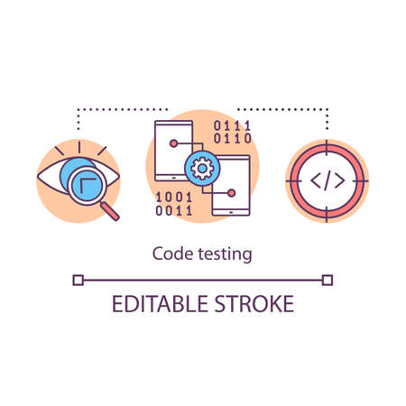 Code testing concept icon. Determining suitability of code. Program examination. Search for software bugs idea thin line illustration. Vector isolated outline drawing. Editable stroke