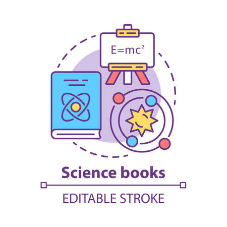 Science books concept icon. Scientific literature idea thin line illustration. Academic paper research, tractate. Physics and astronomy encyclopedia. Vector isolated outline drawing. Editable stroke
