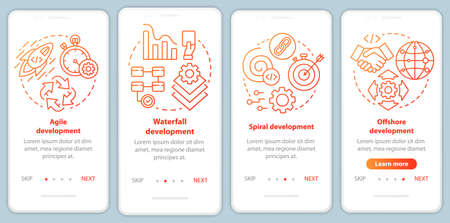 Software development methodologies onboarding mobile app page screen vector template. Programming process. Walkthrough website steps with linear illustrations. UX, UI, GUI smartphone interface concept