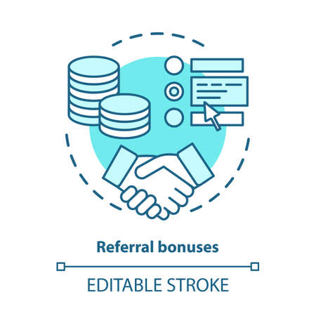Casino referral bonuses concept icon. Reward program idea thin line illustration. Referral awards, incentives and benefits. Redeem points. Vector isolated outline drawing. Editable stroke