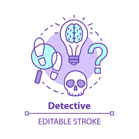 Detective literature concept icon. Crime fiction idea thin line illustration. Mystery criminal story and investigation. Mystery novel. Evidence search. Vector isolated outline drawing. Editable stroke