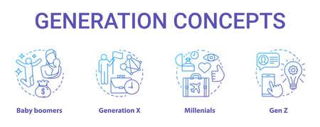 Set di icone di concetto di generazione. I gruppi di età ideano illustrazioni a linee sottili. Generazione Z e millennial. Generazione X. Gruppi di pari. Baby boomer. Disegni vettoriali isolati di contorno. Tratto modificabile Vettoriali