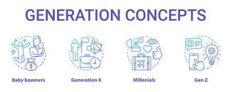 Generation concept icons set. Age groups idea thin line illustrations. Gen Z and millennials. Generation X. Peer groups. Baby boomers. Vector isolated outline drawings. Editable stroke Illustration