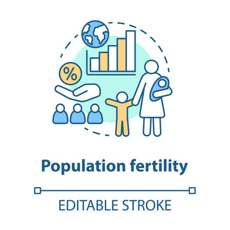 Population fertility concept icon. Birthrate idea thin line illustration. Birth control in different countries. Planned parenthood. Vector isolated outline drawing. Editable stroke