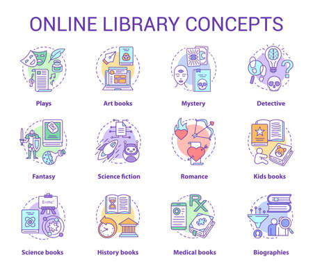 Online library concept icons set. Book catalogue idea thin line illustrations. Fantasy, biographies, medical, history, plays, romance & mystery types. Vector isolated outline drawings. Editable stroke