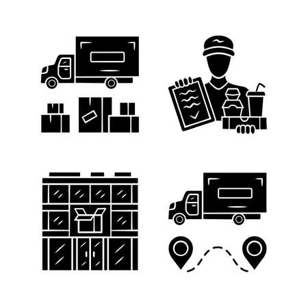 Delivery glyph icons set. Heavy goods shipping, food delivery courier, post office. Cargo transportation truck. Freight shipment. Silhouette symbols. Vector isolated illustration Archivio Fotografico - 130212973