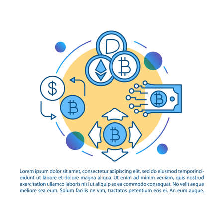 Cryptocurrency exchange service article page vector template. Crypto transactions. Virtual money. Brochure, magazine, booklet design element with icons and text. Print design. Concept illustrations