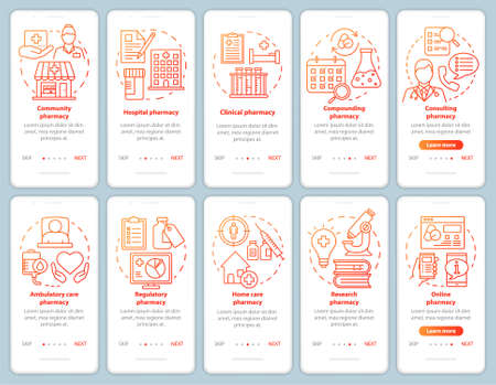 Pharmacy types and services onboarding mobile app page screen vector template. Hospital pharmacology. Walkthrough website steps with linear illustrations. UX, UI, GUI smartphone interface concept set 일러스트