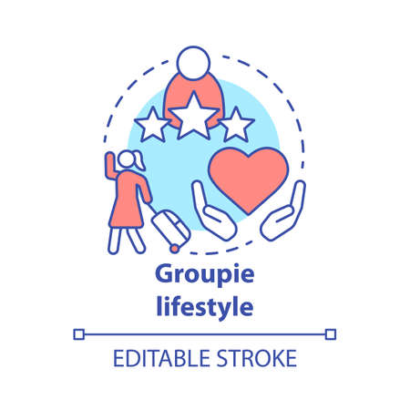 Groupie lifestyle concept icon. Seeking personal gain following celebrity idea thin line illustration. Obsessive adoration, attachment to musician. Vector isolated outline drawing. Editable stroke