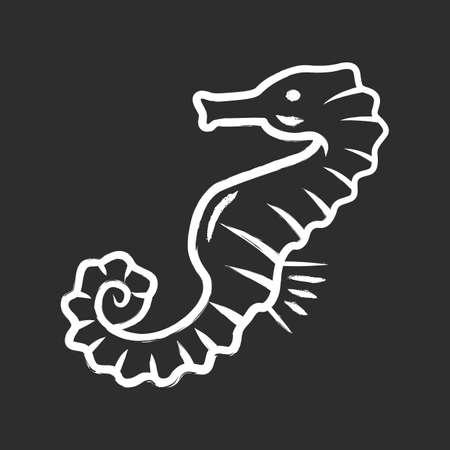 Seahorse chalk icon. Exotic marine fish. Aquatic creature with horse shape body. Aquarium animal. Swimming underwater organism. Marine fauna. Oceanography. Isolated vector chalkboard illustration