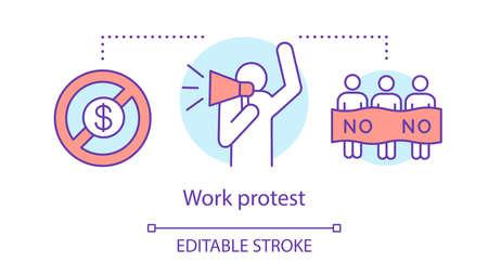Symbol für das Konzept des Arbeitsprotestes. Öffentlicher Streik, Gewerkschaftsstreik Idee dünne Linie Illustration. Nichtzahlung des Gehalts, Aktivist mit Megaphon und Demonstranten Vektor isolierte Umrisszeichnung. Bearbeitbarer Strich Vektorgrafik