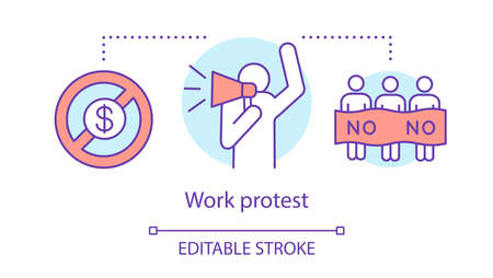 Work protest concept icon. Public strike, labor union strike idea thin line illustration. Salary non payment, activist with megaphone and protesters vector isolated outline drawing. Editable stroke Ilustración de vector