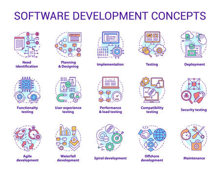 Software development concept icons set. Designing, programming, testing, fixing and maintaining programs. App creation idea thin line illustrations. Vector isolated outline drawings. Editable stroke