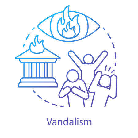 Vandalism concept icon. Civil unrest, property damage, mob violence idea thin line illustration. Aggressive crowd, burning house and flaming eye vector isolated outline drawing. Violent protest