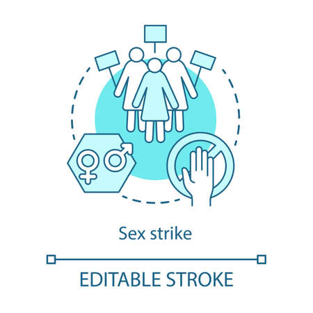 Sex strike concept icon. Sexual abstinence, feminism idea thin line illustration. Women with placards vector isolated outline drawing. Gender discrimination, equal rights protest. Editable stroke Vektoros illusztráció