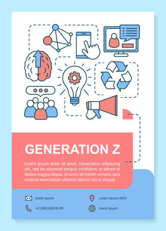 Generation Z poster template layout. Modern gen goals and digital technology. Homelanders. Banner, booklet, leaflet print design, linear icons. Vector brochure page for magazines, advertising flyers Banco de Imagens - 130134716