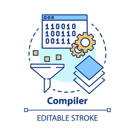 Compiler concept icon. Software development. Machine language. Programming. Data filtering. Computer code translation idea thin line illustration. Vector isolated outline drawing. Editable stroke
