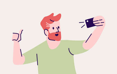 Selfie pose flat vector illustration. Happy man taking self photo. Smiling guy using mobile phone photography. Making self portrait in smartphone camera isolated cartoon character on grey background