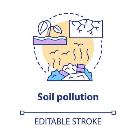 Symbol für das Konzept der Bodenverschmutzung. Dünne Linie Illustration der Idee zur Kontamination von Landmüll. Ineffiziente Nutzung natürlicher Ressourcen. Deponien und Müllproblem. Vektor isolierte Umrisszeichnung. Bearbeitbarer Strich