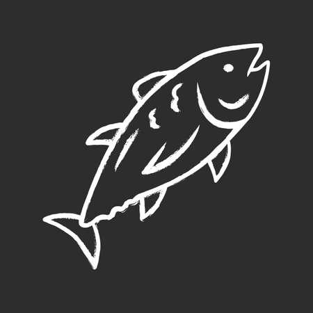 Tuna chalk icon. Swimming marine fish. Underwater inhabitant. Mackerel fishing. Seafood restaurant menu. Floating aquatic animal. Undersea world. Isolated vector chalkboard illustration