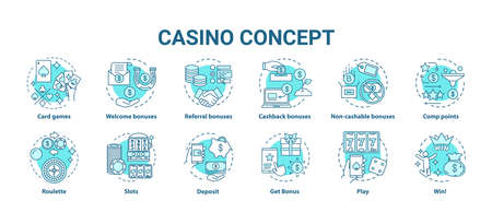 Casino concept icons set. Online games of chance and bonuses idea thin line illustrations. Slot machines, card games, roulette. Gambling. Vector isolated outline drawings pack. Editable stroke