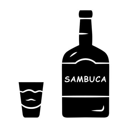 Sambuca glyph icon. Bottle and shot glass with drink. Italian anise-flavoured liqueur. Alcoholic beverage for cocktails, straight. Silhouette symbol. Negative space. Vector isolated illustration Illustration