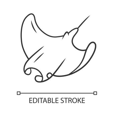 Skate linear icon. Swimming stingray. Oceanarium animal. Electric ramp. Underwater creature, aquatic fish. Thin line illustration. Contour symbol. Vector isolated outline drawing. Editable stroke