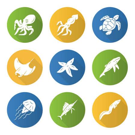 Sea animals flat design long shadow glyph icons set. Swimming octopus, starfish, squid, jellyfish. Marine aquarium. Whale, skate, turtle. Underwater inhabitants. Vector silhouette illustration Illustration