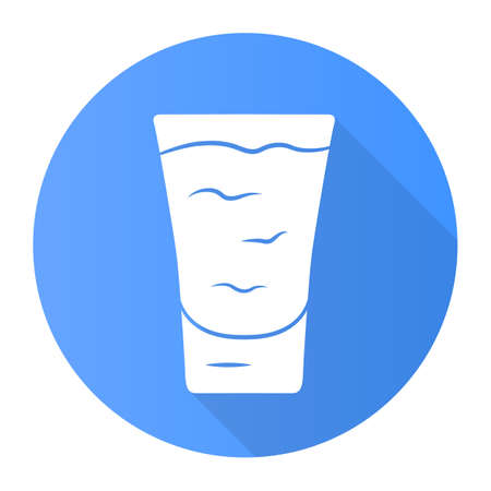 Shot blue flat design long shadow glyph icon. ?ocktail in glass. Alcoholic drink. Tumbler with shooter. Beverage for party, celebration. Mix for fast consumption. Vector silhouette illustration