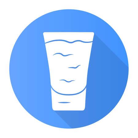 Tiro azul diseño plano icono de glifo de larga sombra. ? ocktail en copa. Bebida alcoholica. Vaso con tirador. Bebida para fiesta, celebración. Mezclar para un consumo rápido. Ilustración de silueta de vector