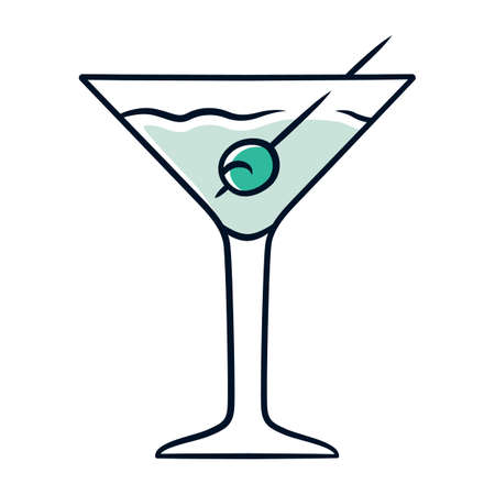 Martini blue color icon. Footed glass with drink and olive. Cocktail with gin and vermouth. Refreshing alcoholic beverage for party. Tumbler with mixed drink. Isolated vector illustration