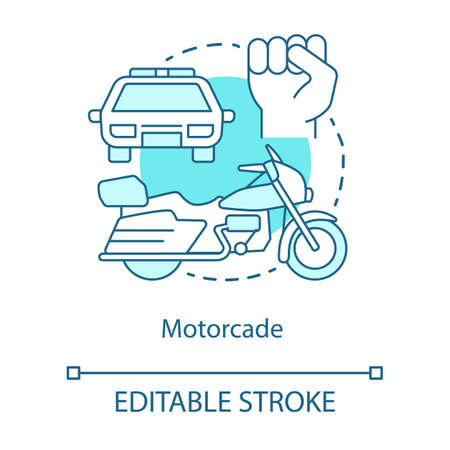 Motorcade concept icon. Vehicles procession idea thin line illustration. Police car, motorcycle and fist vector isolated outline drawing. Political transportation, security convoy. Editable stroke