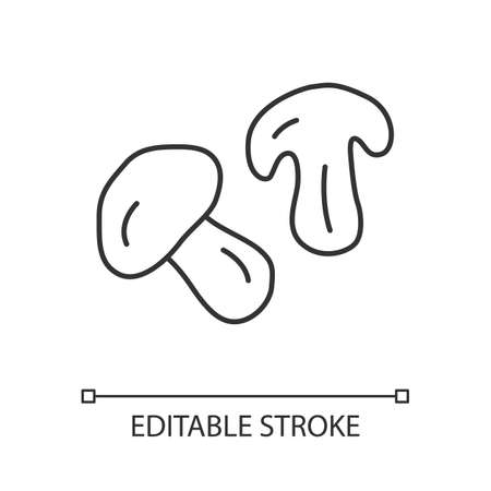 Edible mushroom linear icon. Cut champignon, shiitake slice thin line illustration. Healthy nutrition, vegetarian food contour symbol. Forest plant vector isolated outline drawing. Editable stroke