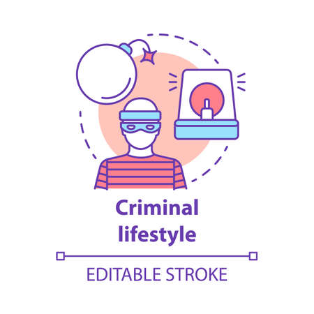 Criminal lifestyle concept icon. Committing crime idea thin line illustration. Terrorist with bomb. Robber, housebreaker. Terrorism attack. Vector isolated outline drawing. Editable stroke