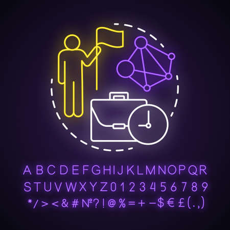 Generation X neon light concept icon. Age group idea. Personal goals achievement and self development. ?areer growth. Glowing sign with alphabet, numbers and symbols. Vector isolated illustration Ilustrace