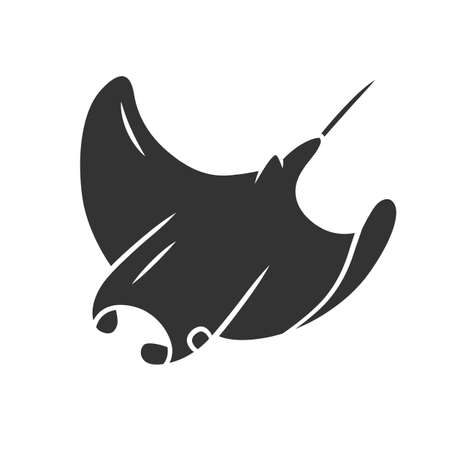 Skate glyph icon. Swimming stingray. Oceanarium animal. Electric ramp. Underwater creature. Undersea inhabitant. Ocean fauna, aquazoo. Silhouette symbol. Negative space. Vector isolated illustration