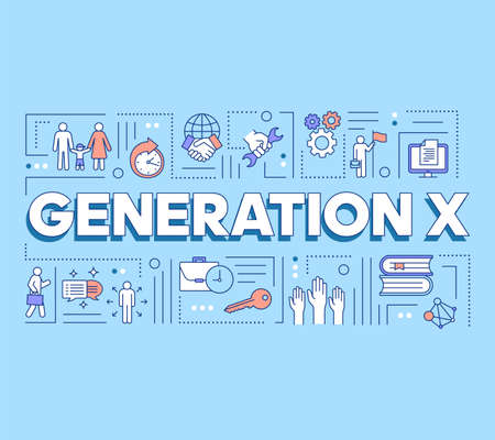 Generation X word concepts banner. Respect for balance between family, work and hobby. Presentation, website. Isolated lettering typography idea with linear icons. Vector outline illustration