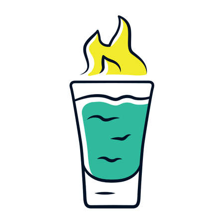 Flaming shot green color icon. Glass with beverage and burning fire. Drink with flammable high-proof alcohol. Absinthe. Isolated vector illustration