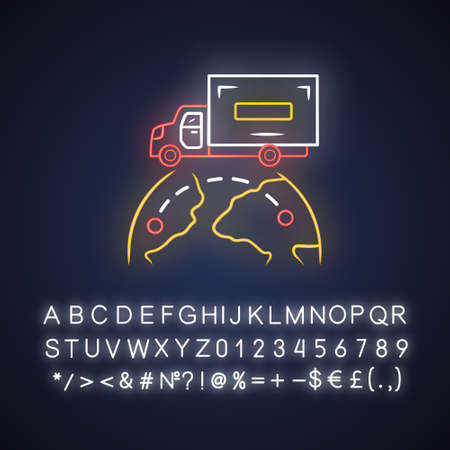 International delivery neon light icon. Goods import and export. Worldwide shipping. Global freight transportation. Cargo shipment logistics. Glowing alphabet, numbers. Vector isolated illustration Illusztráció