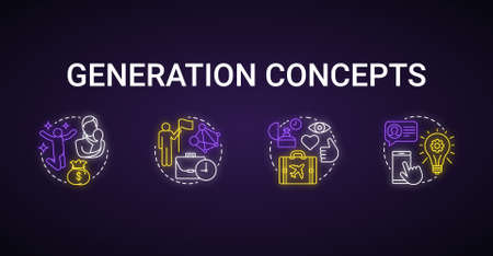 Generation neon light concept icons set. Age groups idea. Baby boomers. Gen Z and millennials. Generation X. Peer groups. Glowing vector isolated illustration