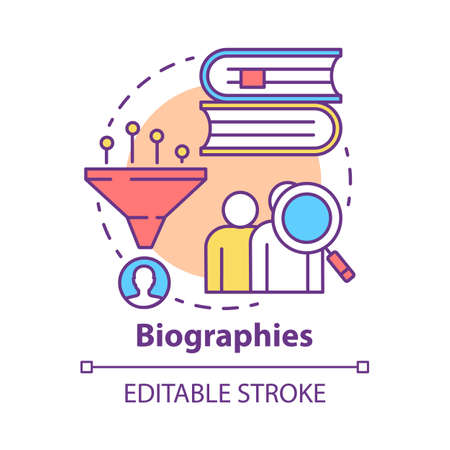 Biographies concept icon. Life history idea thin line illustration. Stories about famous people. Facts about historic personalities. Personal data. Vector isolated outline drawing. Editable stroke