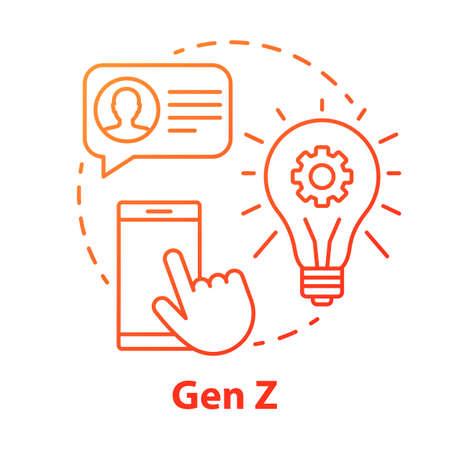 Icono del concepto rojo Gen Z. Ilustración de línea fina de idea de grupo de edad. Tecnologías digitales. Desarrollo de innovaciones. Comunicación online. Generación Patria. Dibujo de contorno aislado del vector Ilustración de vector