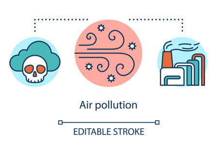 Air pollution concept icon. Spread of toxic smoke by wind. Anthropogenic impact on atmosphere. Smog and CO2 emission idea thin line illustration. Vector isolated outline drawing. Editable stroke Ilustração Vetorial