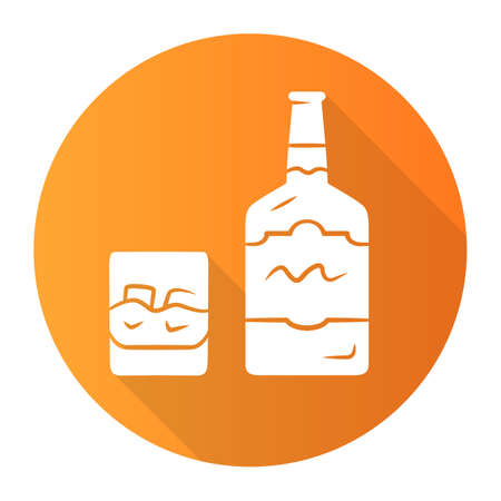 Whiskey orange flat design long shadow glyph icon. Bottle and old fashioned glass with drink, ice. Scotch, rum shot. Alcoholic beverage for cocktails. Brandy, bourbon. Vector silhouette illustration
